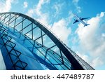 shot of airplane flying above... | Shutterstock . vector #447489787