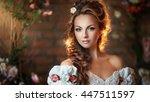 close up portrait of beautiful... | Shutterstock . vector #447511597