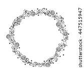 frame   wreath. doodle flower...   Shutterstock .eps vector #447515947