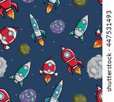 rocket or spaceship seamless... | Shutterstock .eps vector #447531493