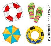 lifebuoy  beach umbrella  step... | Shutterstock .eps vector #447534877