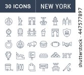 set vector line icons in flat... | Shutterstock .eps vector #447577897