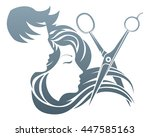 a man and woman having her hair ... | Shutterstock .eps vector #447585163
