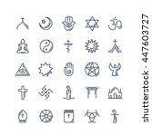 vector religion icons set thin... | Shutterstock .eps vector #447603727
