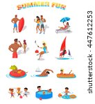summer holidays color icons... | Shutterstock . vector #447612253