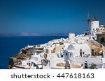 oia village at suny day on... | Shutterstock . vector #447618163