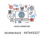 modern flat thin line design... | Shutterstock .eps vector #447643327