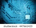 blue circuit board closeup ...   Shutterstock . vector #447661423