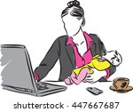mother with baby working from... | Shutterstock .eps vector #447667687