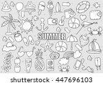 summer beach hand drawn vector... | Shutterstock .eps vector #447696103