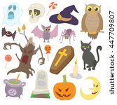 halloween icons set in cartoon... | Shutterstock . vector #447709807