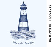 lighthouse in the wave  vector...   Shutterstock .eps vector #447726313