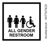 all gender restroom sign.... | Shutterstock .eps vector #447767623