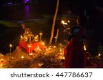 Small photo of VARANASI,INDIA - 24 May 2016 : Unidentified Hindu priest performing Agni Pooja or Worship to Fire every evening at Dashashwamedh Ghat in Varanasi.