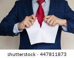 businessman tearing blank paper ... | Shutterstock . vector #447811873