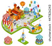 amusement kids park isometric... | Shutterstock .eps vector #447826243