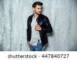 photo of handsome man in black... | Shutterstock . vector #447840727
