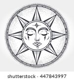 vintage hand drawn sun. vector... | Shutterstock .eps vector #447843997