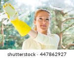happy woman in gloves cleaning... | Shutterstock . vector #447862927