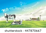 Stock vector two cows in the background of the summer landscape and splash from the milk as well as graphic 447870667