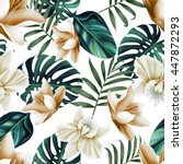 Stock photo seamless tropical flower plant and leaf pattern background retro botanical style stylish flowers 447872293