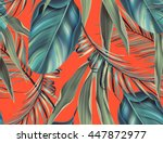 Seamless tropical flower, plant and leaf pattern background, retro botanical style. Stylish flowers print