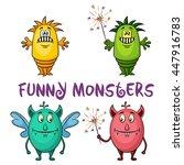 set of cute different cartoon... | Shutterstock .eps vector #447916783
