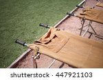 empty medical stretcher to... | Shutterstock . vector #447921103