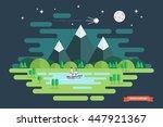 summer night landscape. nature... | Shutterstock .eps vector #447921367