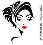 long hair style icon  logo... | Shutterstock .eps vector #447923023