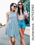 two beautiful young women...   Shutterstock . vector #447923983