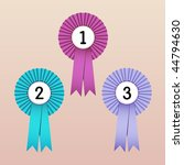Vector Illustration of Award Ribbons (1st, 2nd and 3rd place)