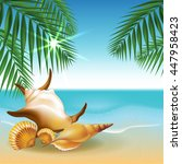beach and tropical sea with... | Shutterstock .eps vector #447958423