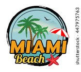miami beach concept in vintage... | Shutterstock .eps vector #447975763