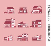 various houses set vector line... | Shutterstock .eps vector #447996763
