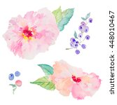 pink watercolor flowers with... | Shutterstock . vector #448010467