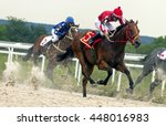 Stock photo horse race for the traditional prize anilina in pyatigorsk the largest in russia 448016983
