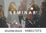 seminar conference meeting... | Shutterstock . vector #448017373