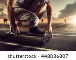 man on long board at sunset | Shutterstock . vector #448036807