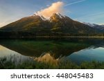 lake hintersee and mountain... | Shutterstock . vector #448045483