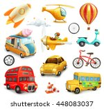 funny cartoon transportation ... | Shutterstock .eps vector #448083037