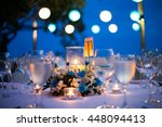dinner table on the beach at... | Shutterstock . vector #448094413