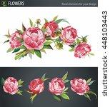 pink peonies flower bouquet ... | Shutterstock .eps vector #448103443