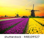 Dutch Windmill Over Colorful...