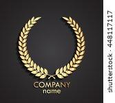 3d laurel wreath gold logo  ... | Shutterstock .eps vector #448117117