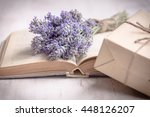 lavender bouquet laid over  an... | Shutterstock . vector #448126207
