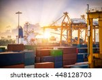 shipping containers in port... | Shutterstock . vector #448128703