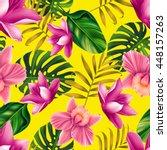 seamless tropical flower  plant ... | Shutterstock . vector #448157263