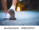 athlete runner feet running on... | Shutterstock . vector #448165927