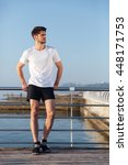 pensive young sportsman in... | Shutterstock . vector #448171753